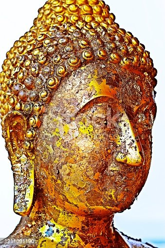 Buddha statue's face in temple - Bangkok,Thailand.
