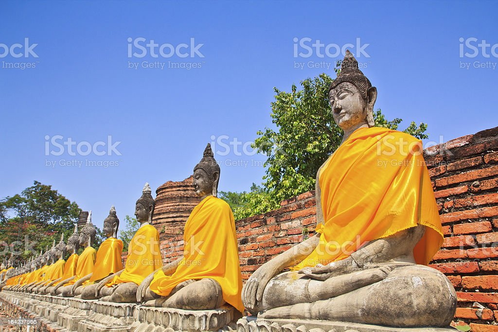 Buddha statues in a row stock photo