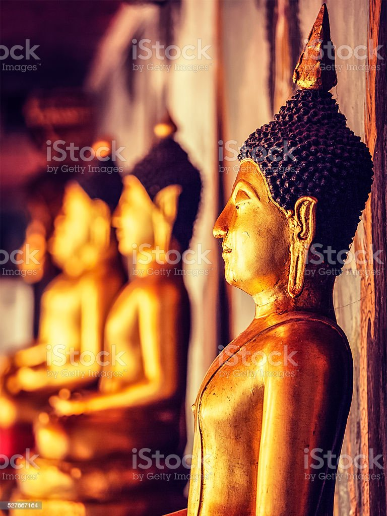 Buddha statues in Buddhist temple, Thailand stock photo