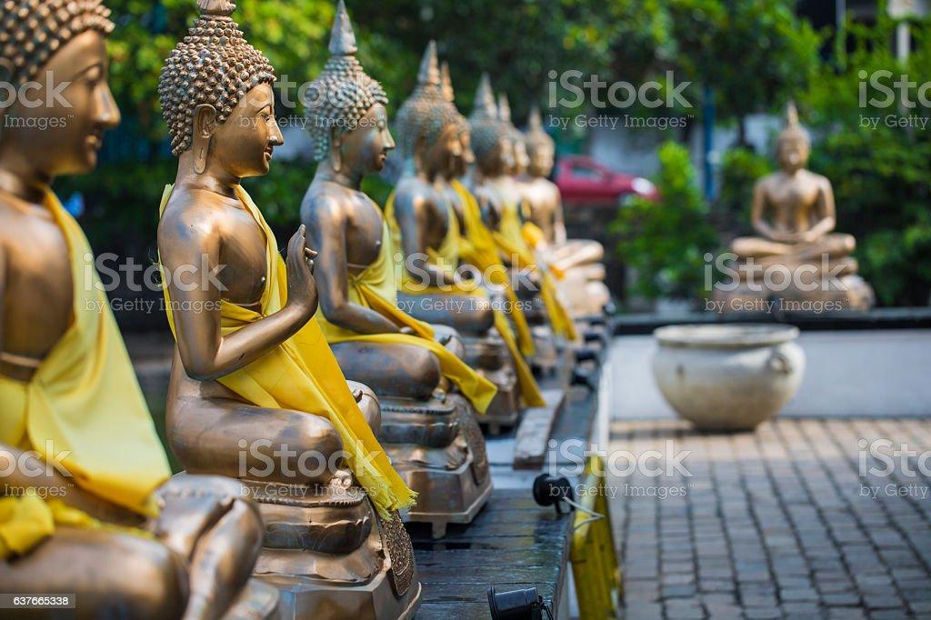 Buddha Statues in Seema Malaka Temple, Colombo, Sri Lanka stock photo