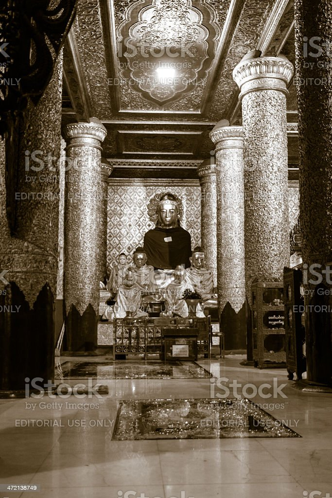 Buddha Statues In Shwe Dagon Monastery Stock Photo
