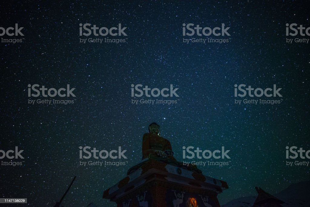 Buddha Statues under millions stars in himalayas - spiti
