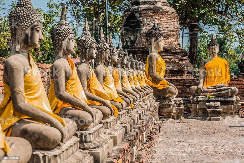 buddha statues Wat Yai Chai Mongkhon Ayutthaya bangkok Thailand stock photo