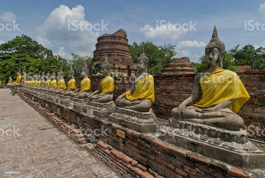 Buddha Statues, Wat Yai Chai Mongkhon,Ayutthaya, Thailand stock photo
