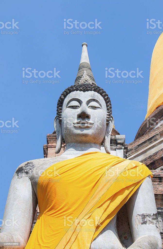 Buddha Status at Wat Yai Chaimongkol, Ayutthaya, stock photo