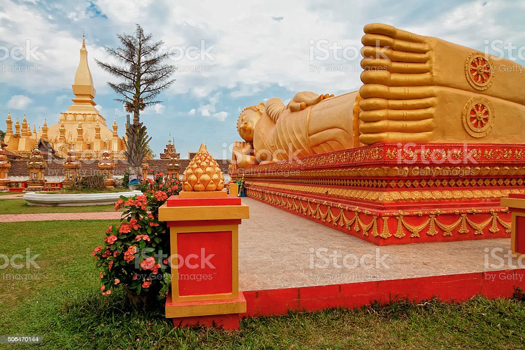 Buddha temple Pha That Luang, Vientiane, Laos. stock photo