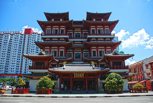 Buddha Tooth Relic Temple Singapore Singapore – July 11, 2010: The Buddha Tooth Relic Temple is a beautiful Chinese temple in Chinatown.  bodhisattva stock pictures, royalty-free photos & images