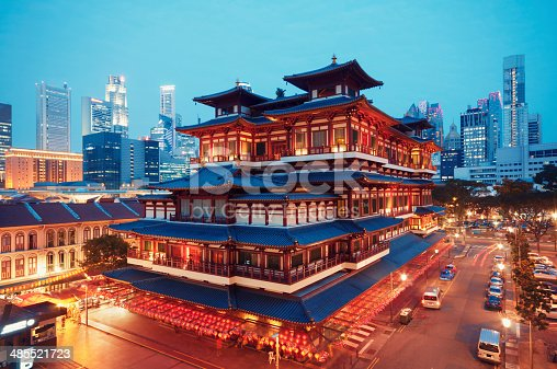 Buddha Toothe Relic Temple in Chinatown with Singapore`s business district in the background.