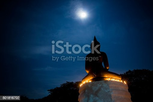 Buddha under the moonlight candles