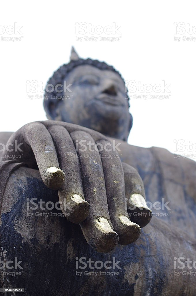 Buddha with gold nails in Sukhothai, Thailand royalty-free stock photo