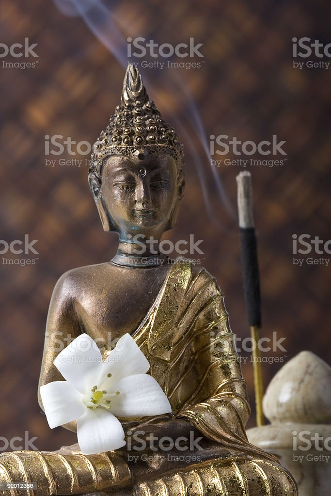 Buddha With Incense Stick And Flower royalty-free stock photo
