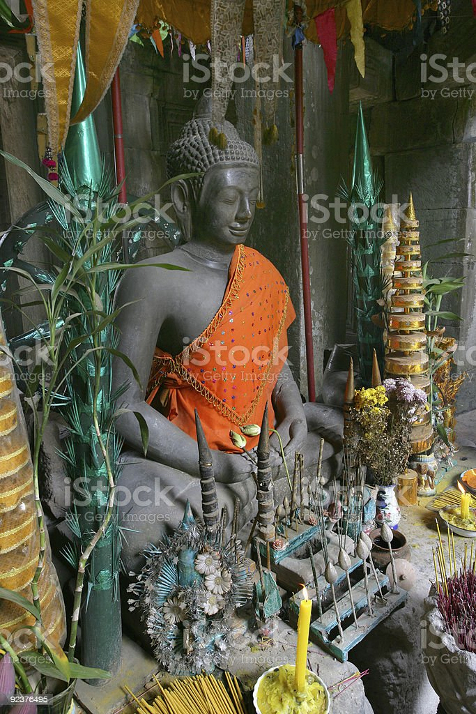 Buddha with offerings royalty-free stock photo