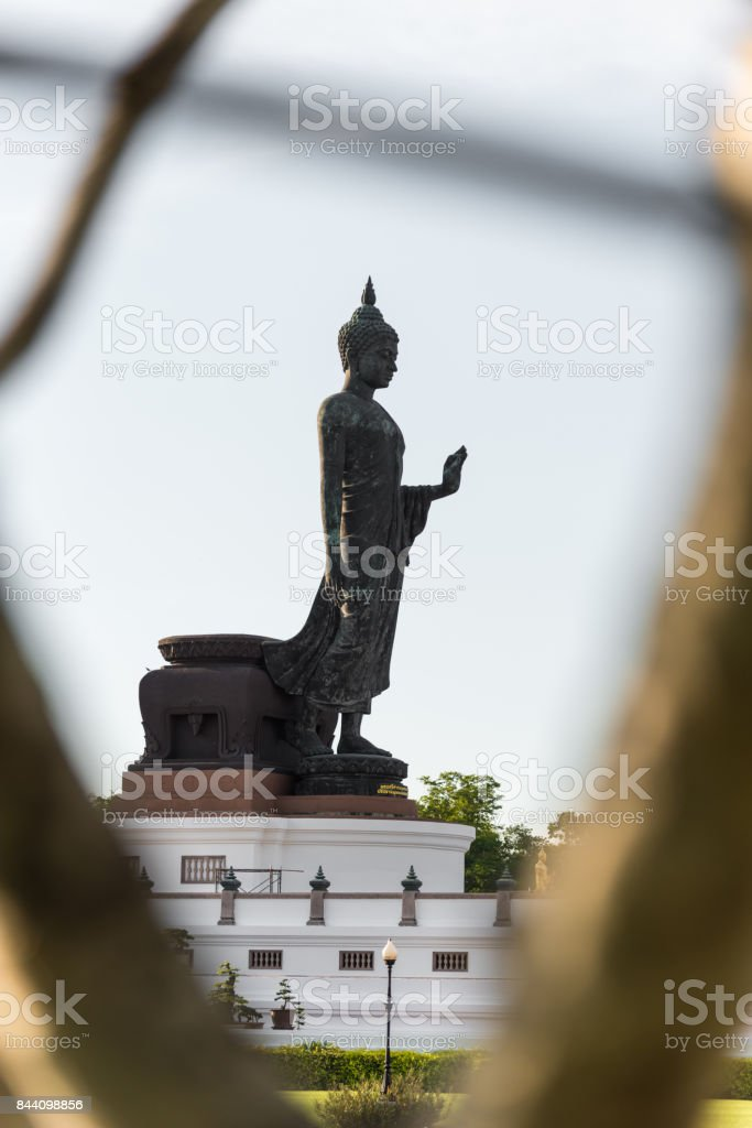 Buddhamonthon is place for Buddhist Dharma with blue sky and sunset. stock photo