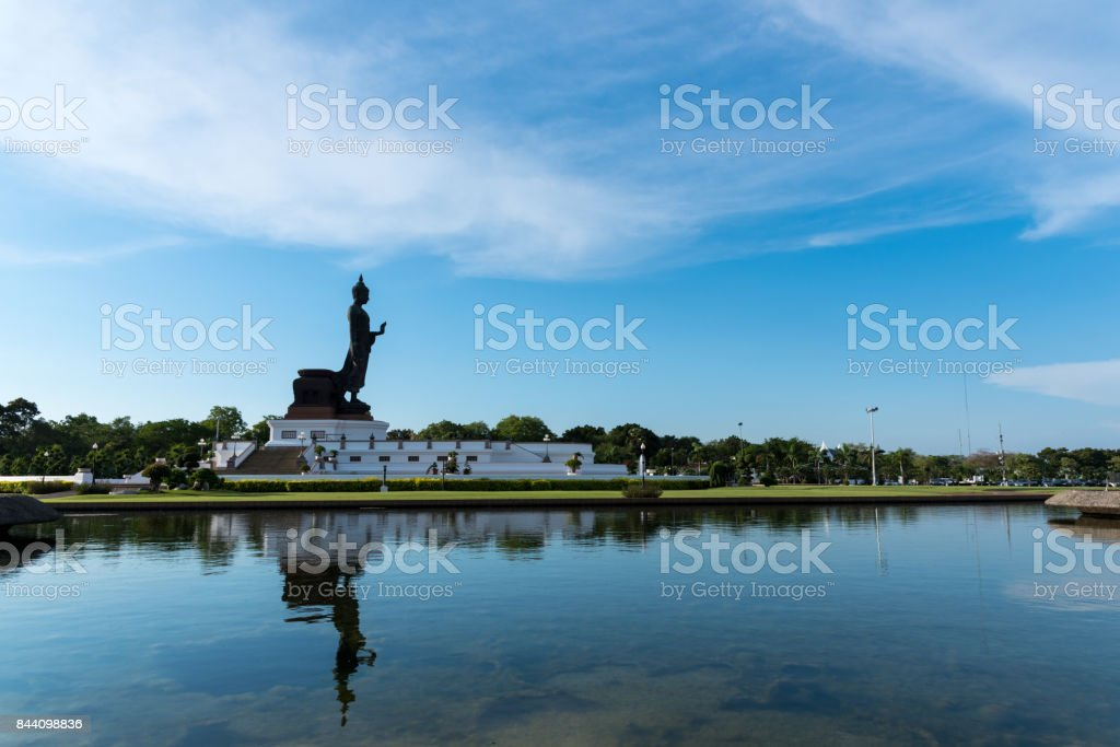 Buddhamonthon is place for Buddhist Dharma with blue sky in the morning. stock photo