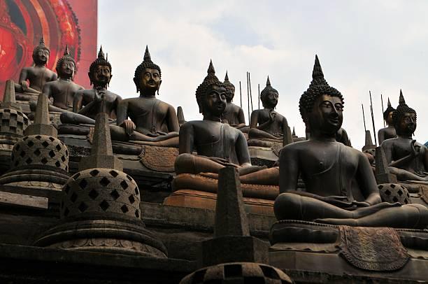 Buddhas and stupas in Colombo Sri Lanka stock photo