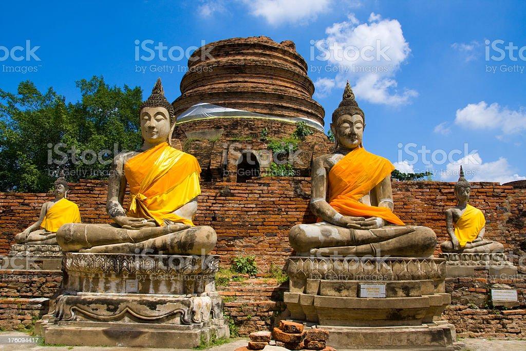 Buddhas at Ayutthaya stock photo