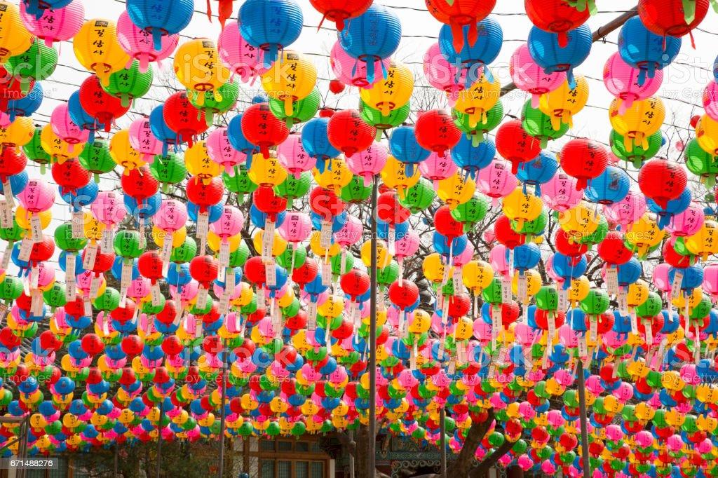 Buddha's birthday colorful paper lanterns - Gilsangsa(Temple) in seoul Korea stock photo