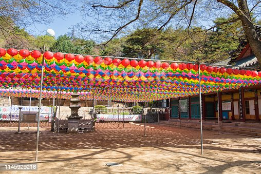 Seoul, Korea - April 27th, 2019: Its Yeonjusa Buddhist Temple preparing for the Buddha's Birthday in Gwanaksan Mountain, Seoul. 관악산 연주사