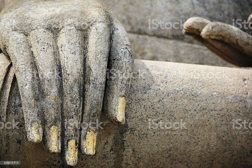 buddhas hand sukhothai temple ruins thailand royalty-free stock photo