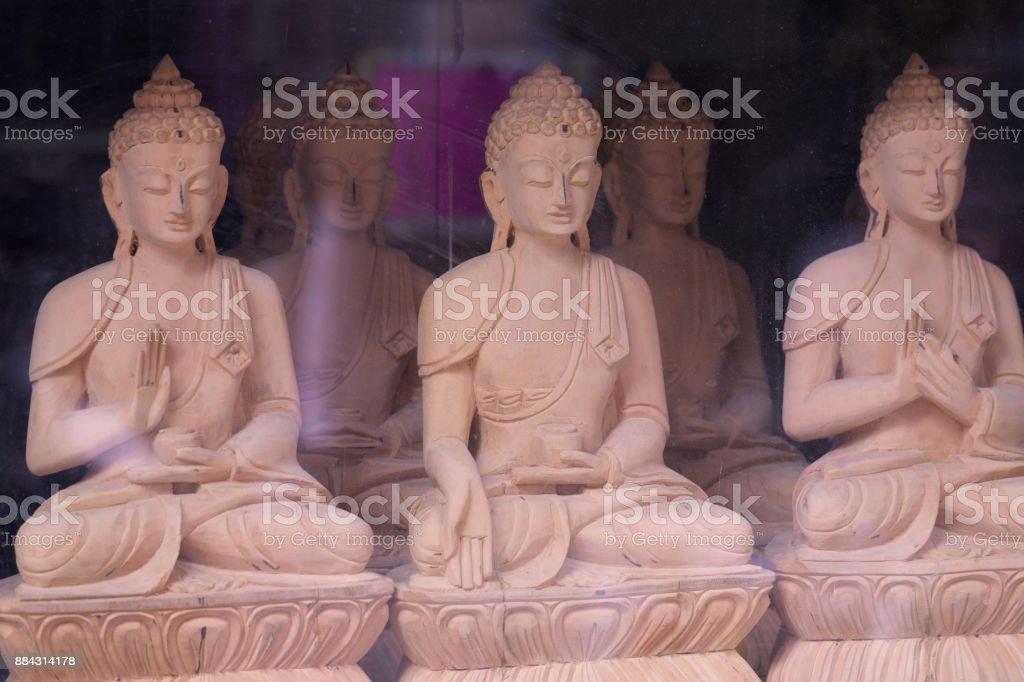Buddhas in a Window stock photo