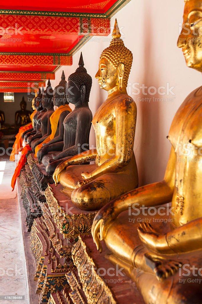 Buddhas in Wat Pho - Bangkok , Thailand stock photo