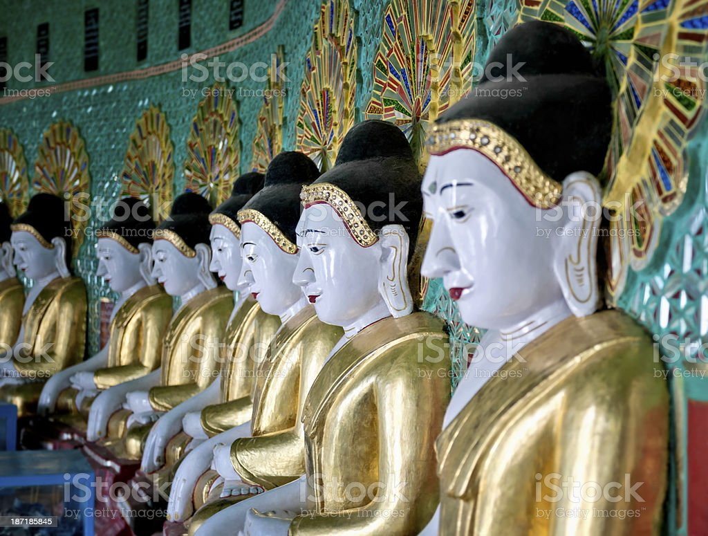 Buddhas of the Umin Thonze Temple royalty-free stock photo