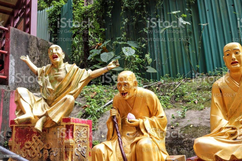 10,000 Buddhas Hong Kong, China July 20, 2019  Some of the unique Buddha statues at the 10,000 Buddhas Monastery at Sha Tin Hong Kong Buddha Stock Photo