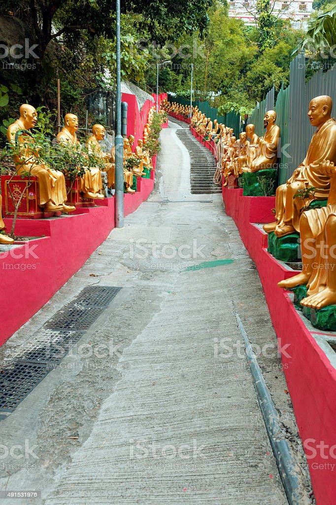 Buddhas, Ten Thousand Buddhas Monastery, Sha Tin, Hong Kong,China stock photo