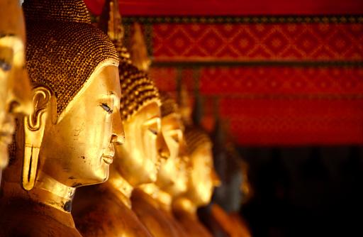 Buddhas at Wat Pho, Bangkok, Thailand.