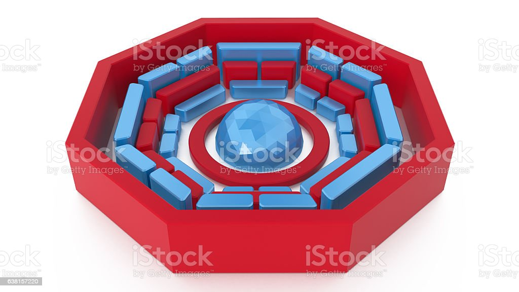 Buddhism 3D Symbol Wheel of Dharma stock photo