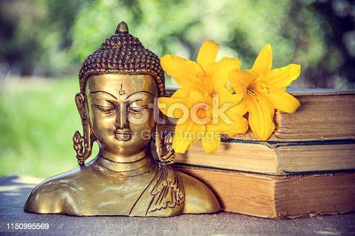 Buddhism and meditation. Buddha sculpture.