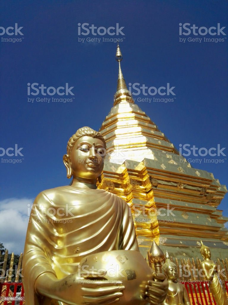 Buddhism pagoda in Thailand stock photo
