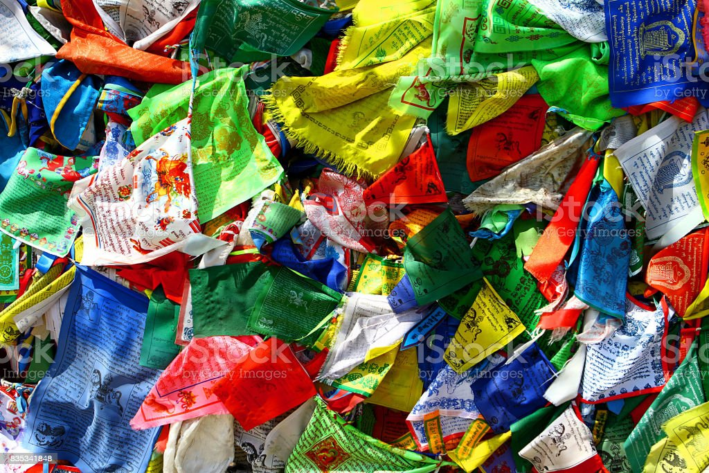 Buddhism prayer flags lungta on the wind stock photo
