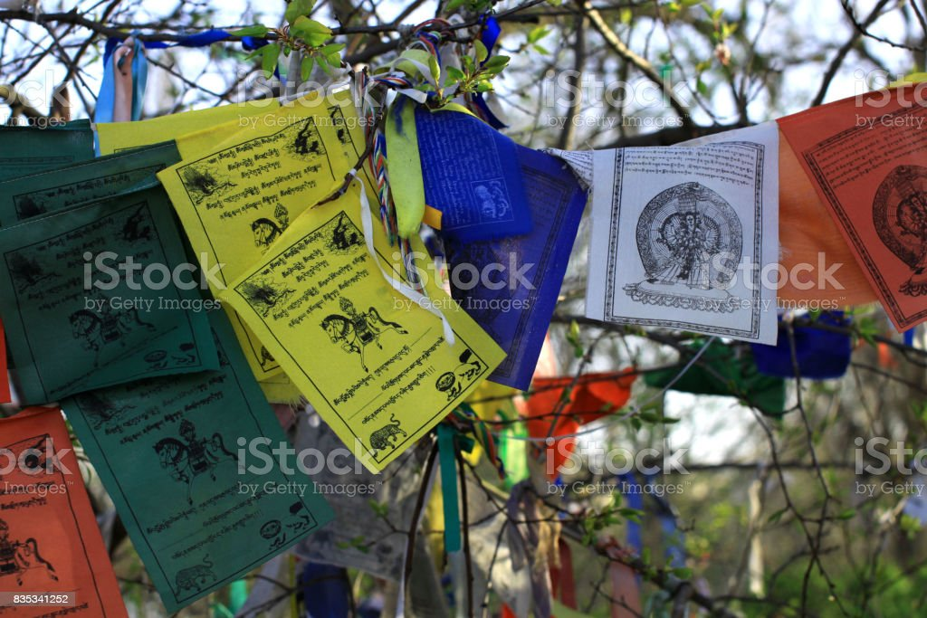 Buddhism Prayer Flags Lungta With Om Mani Padme Hum Mantra