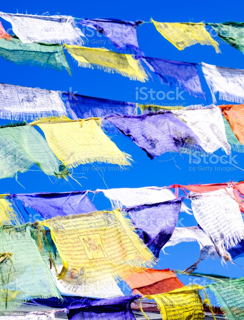 buddhism tibet flags stock photo