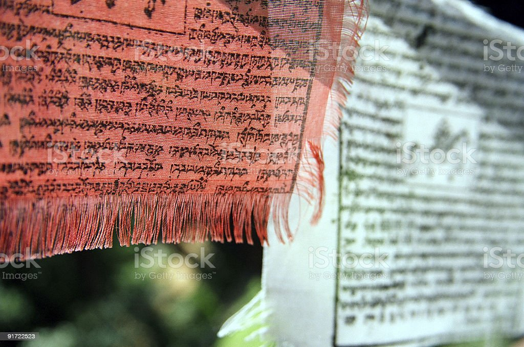 Buddhist Banners - Red and White royalty-free stock photo