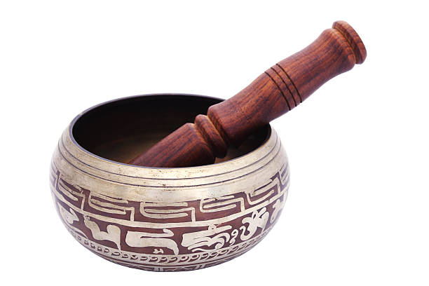 buddhist ceremonial bowl isolated stock photo