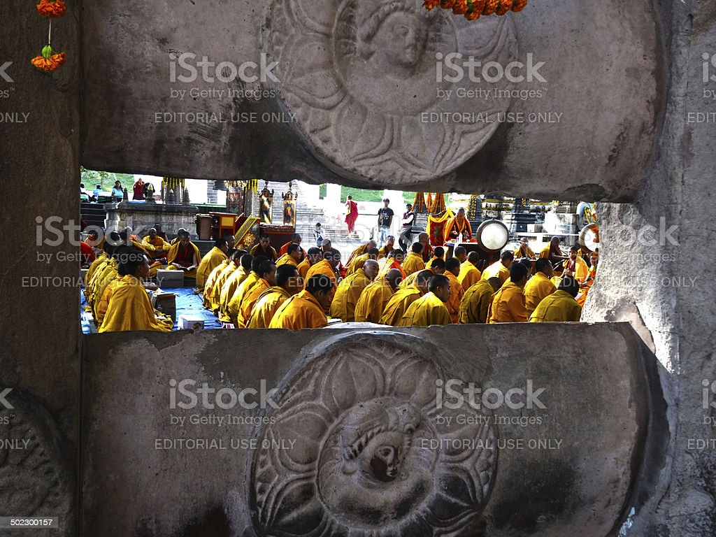 Buddhist chanting Ceremony stock photo