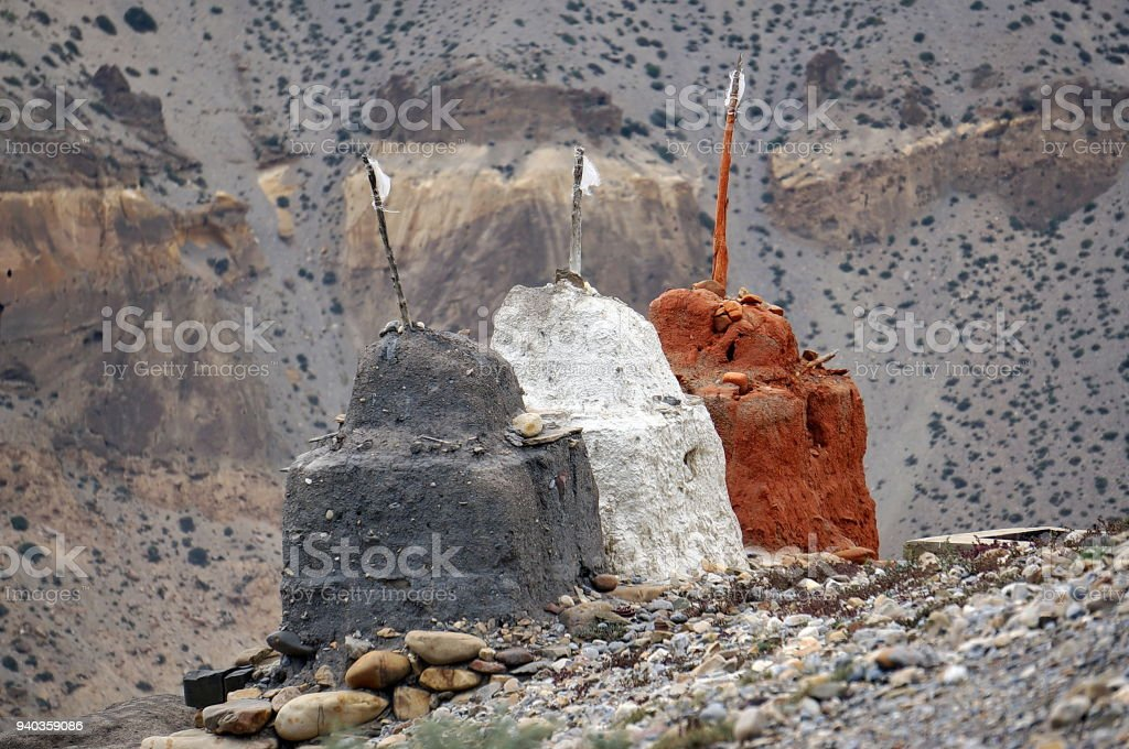 Buddhist Chortens for protection from evil spirits. stock photo