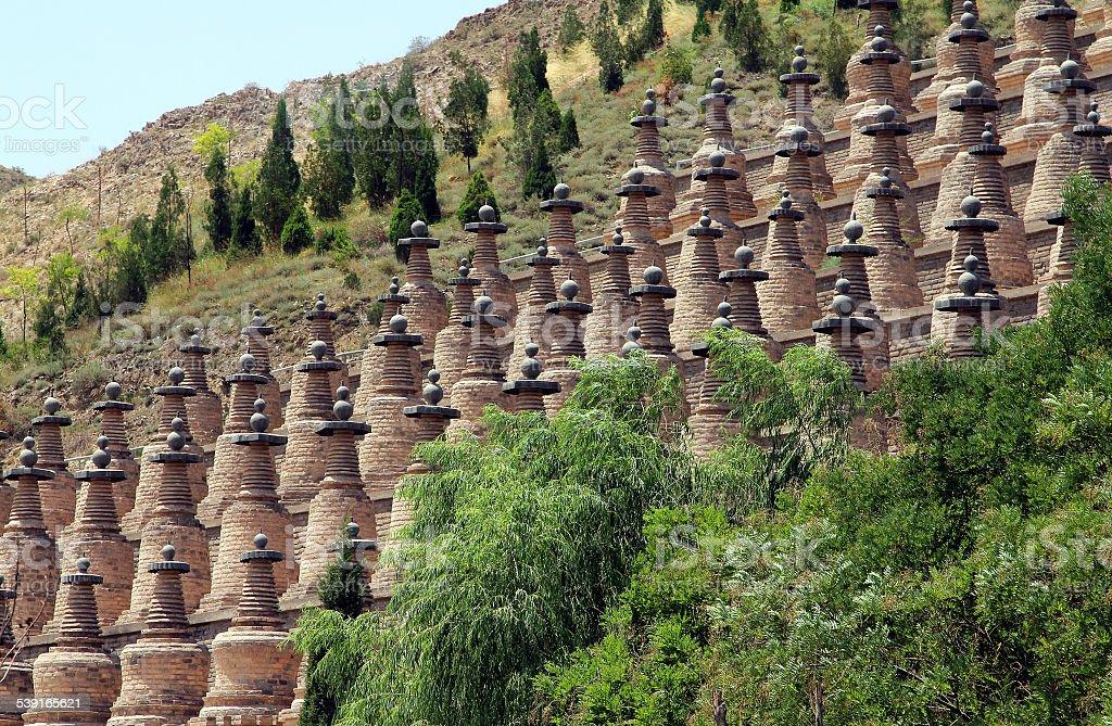 Buddhist Dagobas in Ningxia province of China stock photo