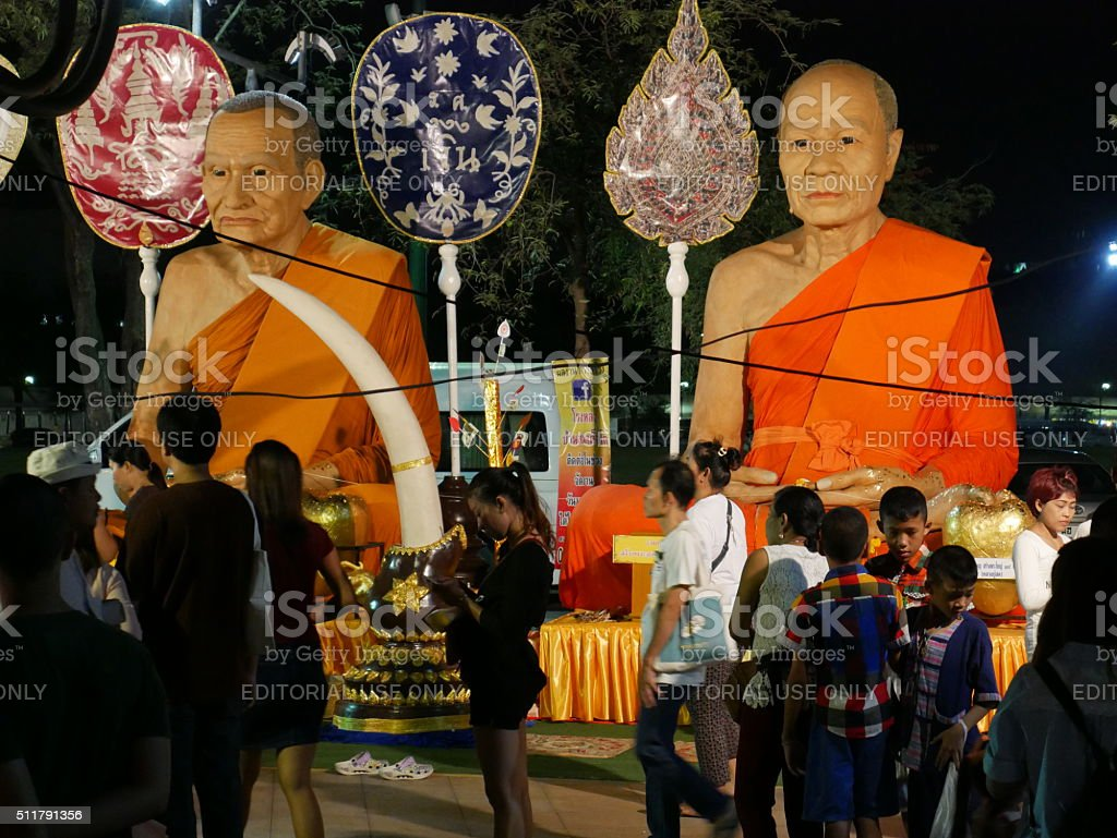 Buddhist donation and statues stock photo