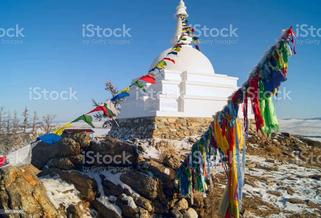 Buddhist enlightenment stupa , island Ogoy, lake Baikal ,Russia. stock photo