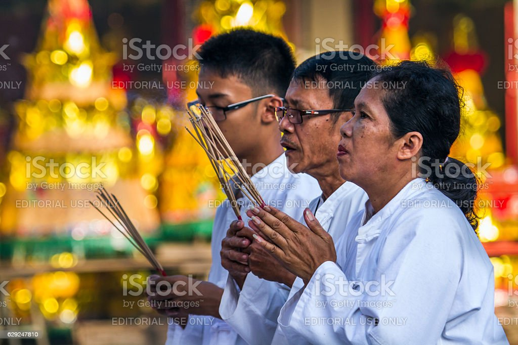 Buddhist festival in Chinese temple in Trang, Thailand stock photo
