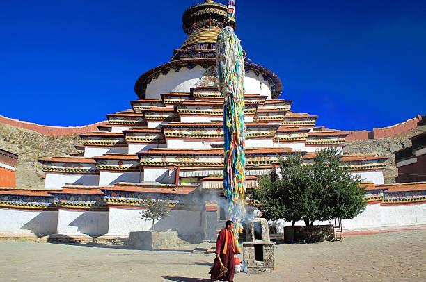 Buddhistische Fahnenmast auf den Kumbum-Tashigomang-Pagode. Gyantse-Tibet. 1635 – Foto