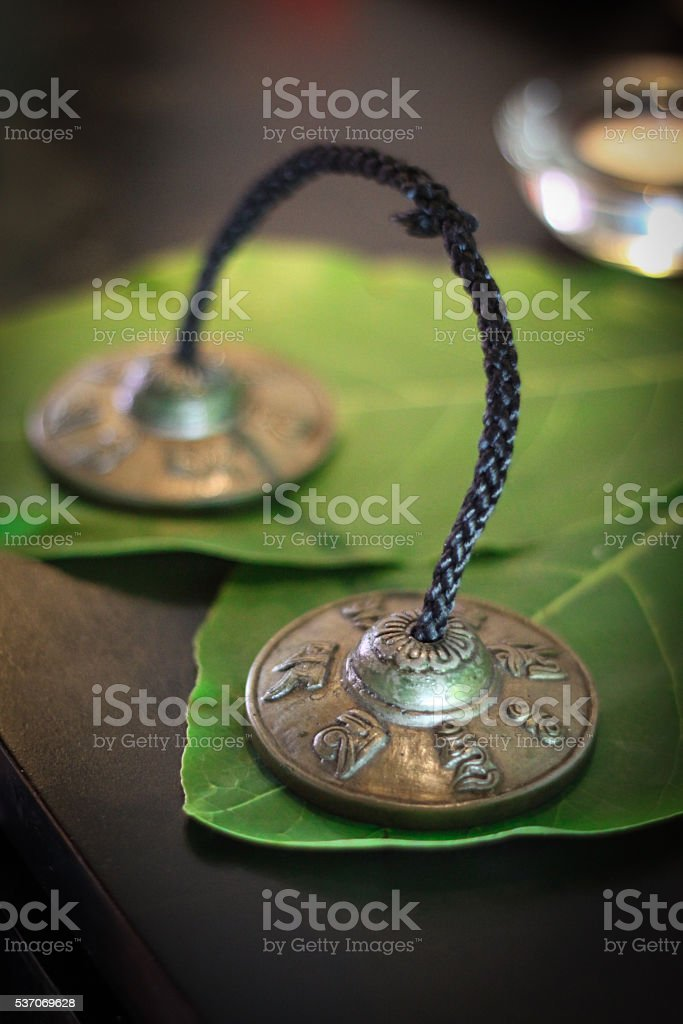 Buddhist healling bells stock photo