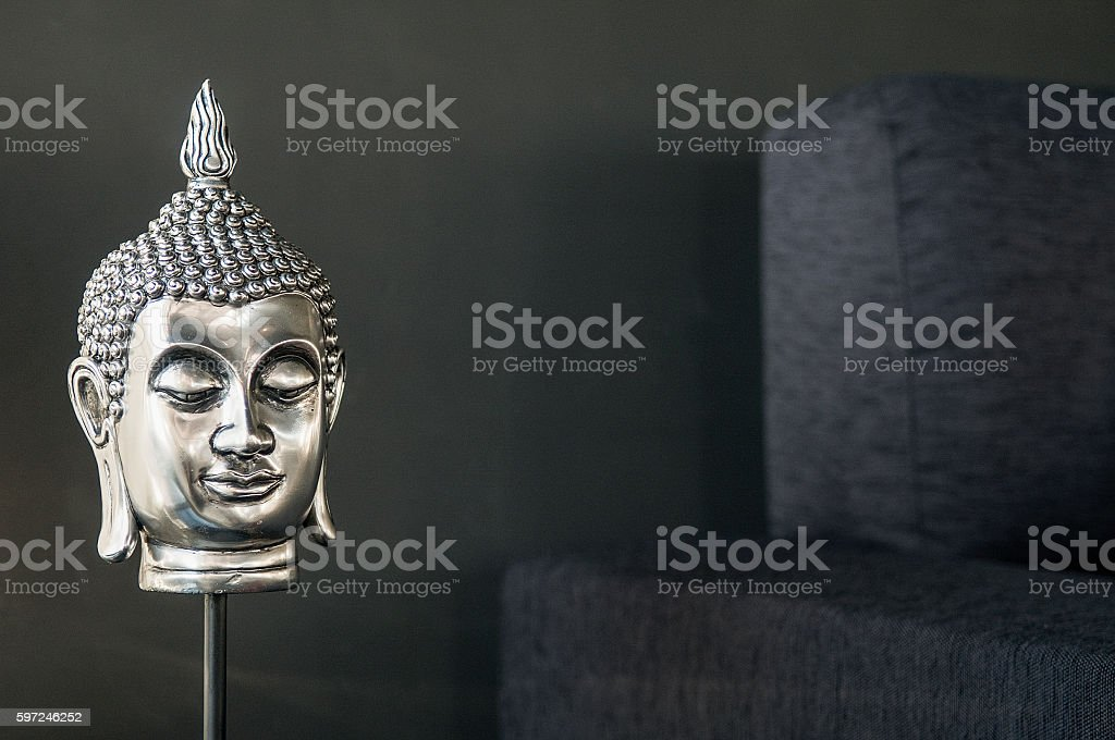 buddhist image interior design detail in modern stylish contemporary home stock photo