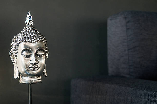 buddhist image interior design detail in modern stylish contemporary home stock photo