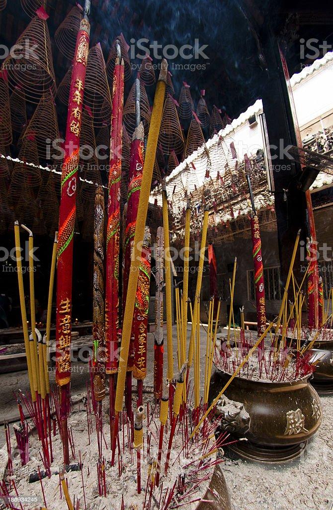 Buddhist incense sticks burning - Saigon royalty-free stock photo