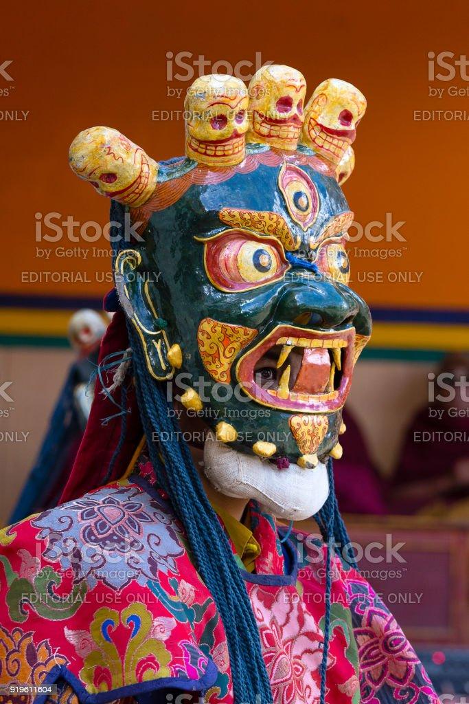 85ae3a756 Buddhist lamas dressed in mystical mask dancing Tsam mystery dance in time  of Yuru Kabgyat Buddhist festival at Lamayuru Gompa, Ladakh, North India -  Stock ...