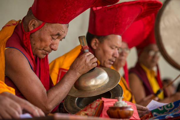 Buddhist lamas (head monks) making music during festival stock photo